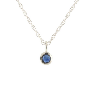 Kris Nations Sapphire Charm Necklace Silver N778-S-SAP
