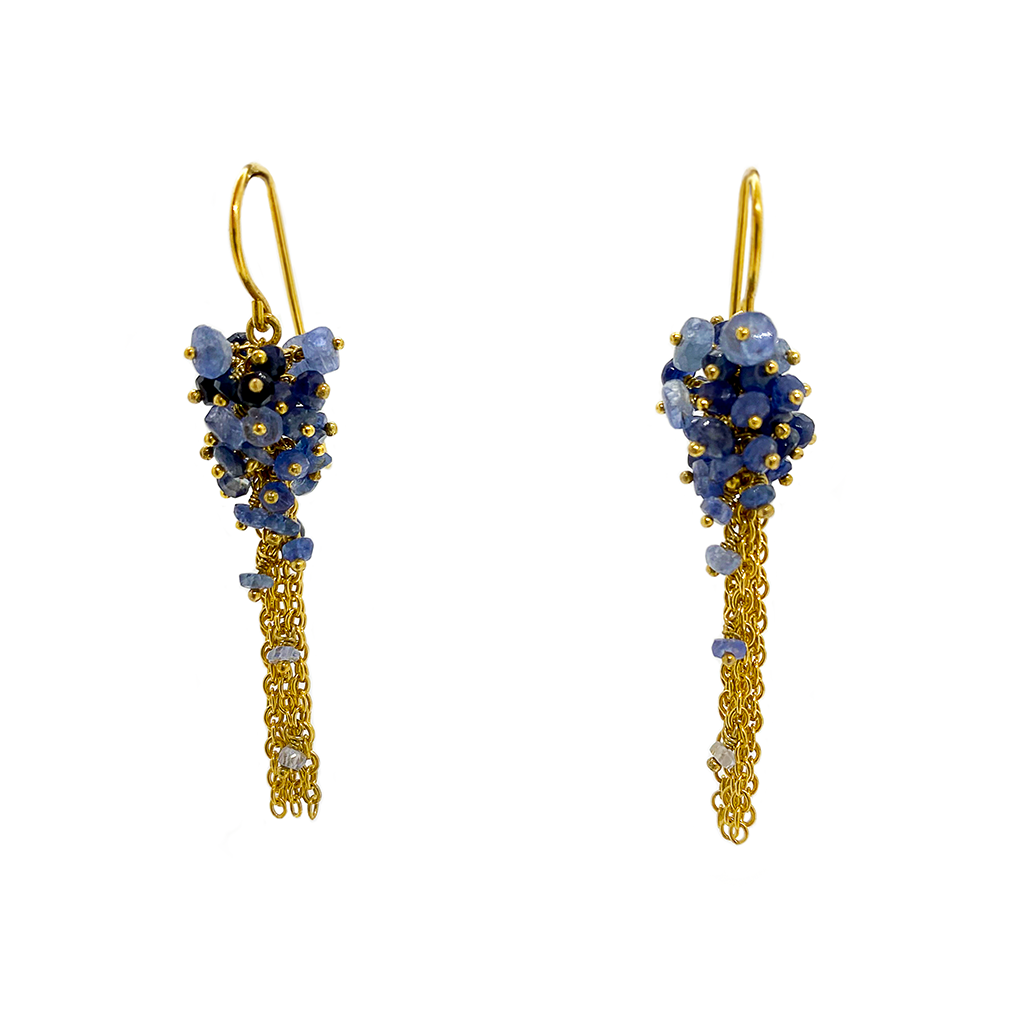 Kate Wood Sapphire Tassel Earrings EUR-MC-E04-SVY