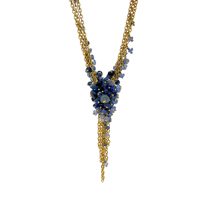 Kate Wood Sapphire Encrusted Tassel Necklace EUR MC-N09-SVY