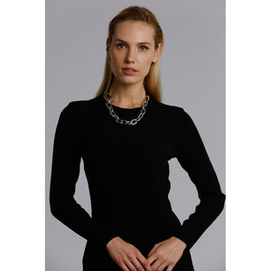 Two A Short Metal Links Necklace N375-01-MATSIL/BLK