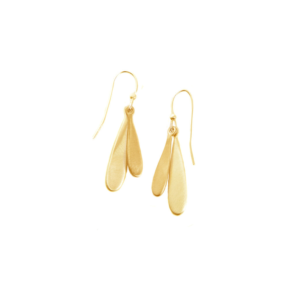 Philippa Roberts Small Double Drop Gold Earrings 140-04ve