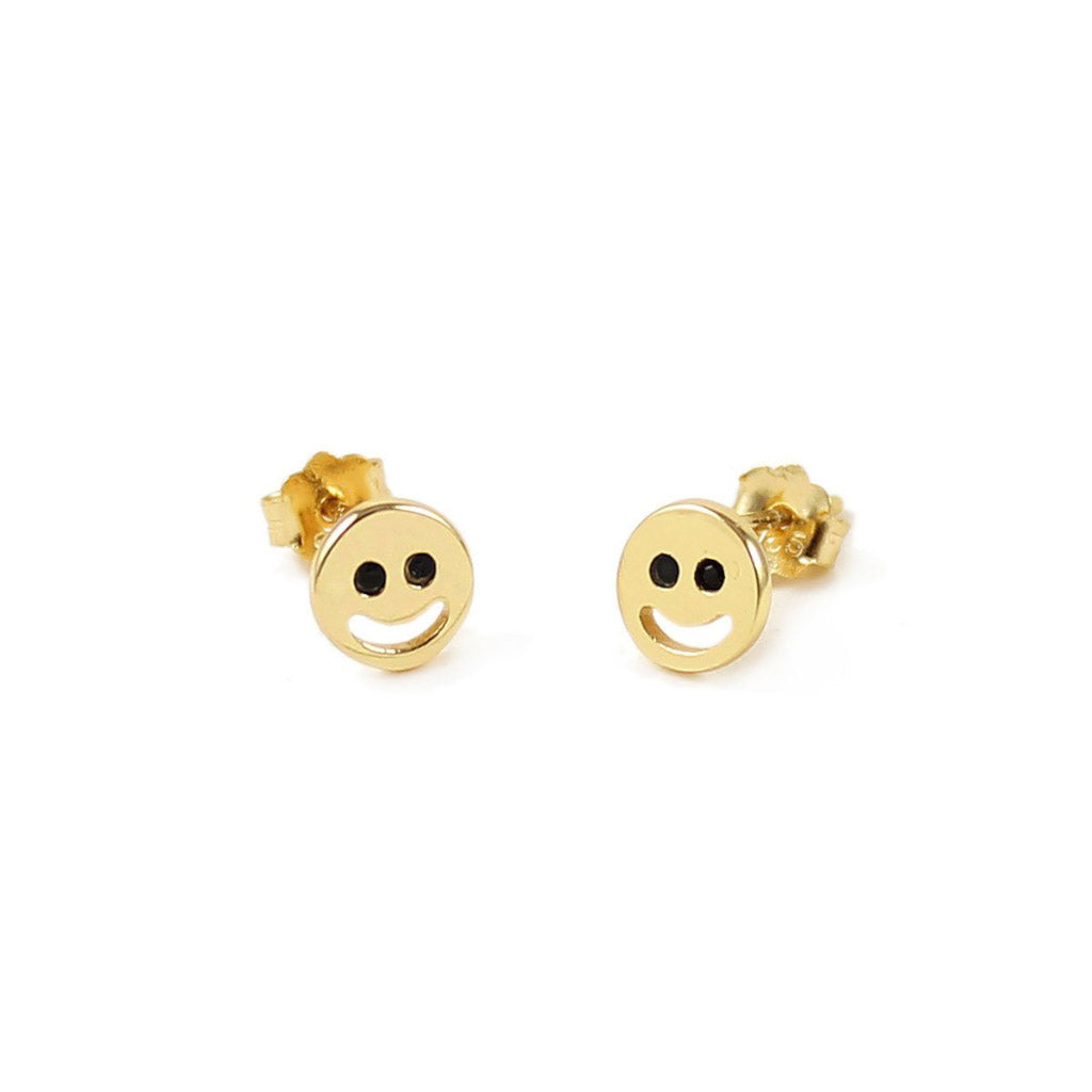 Kris Nations Smile Emoji Studs Gold E-EMJ-SMILE-G