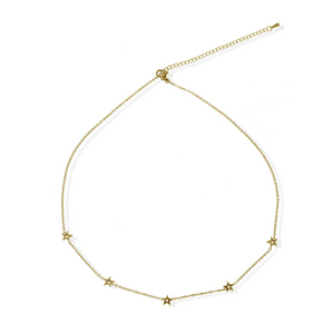 jj+rr Stationed Open Star Necklace Gold 8N4G