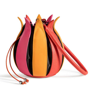 bylin Structure Leather Tulip Bag Pink Yellow Orange Black 071611