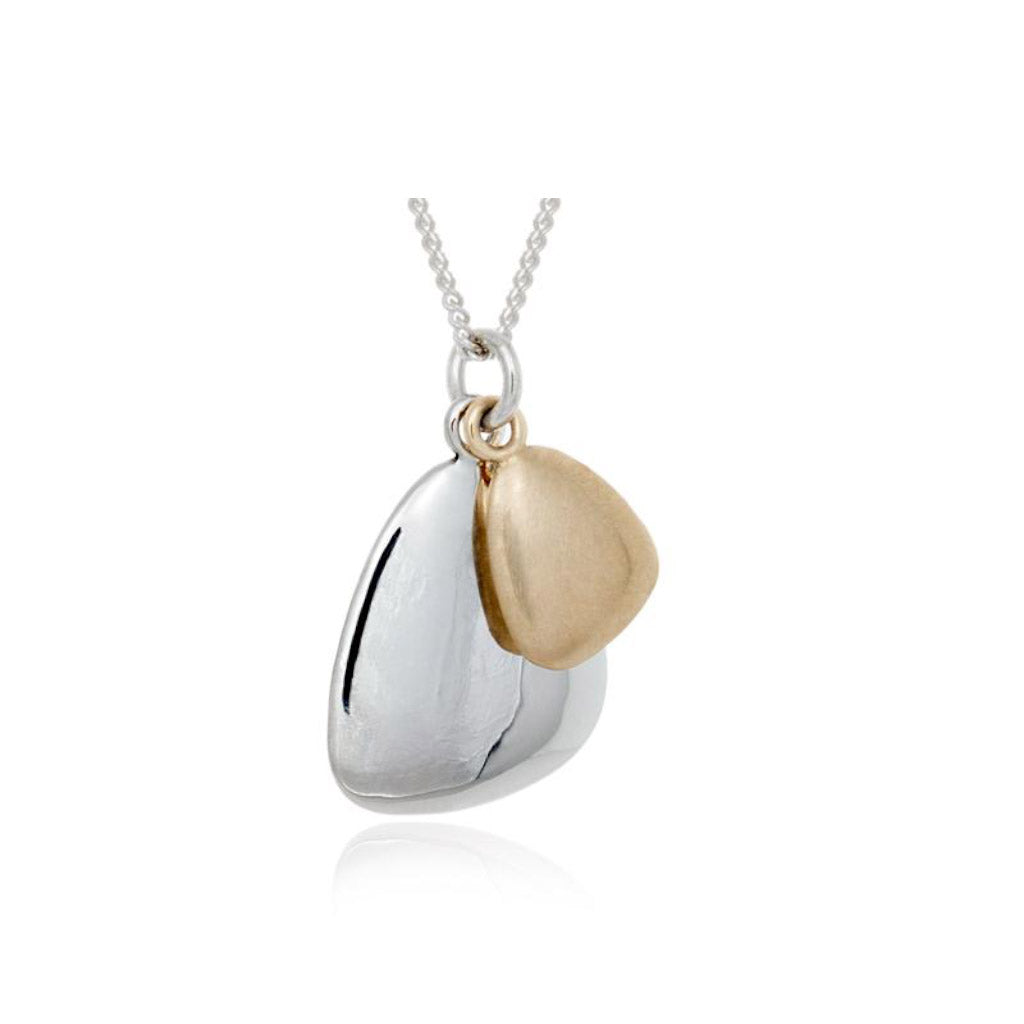 Pamela Lauz Terra Duo Pebble Silver and Bronze Pendant TER-S010