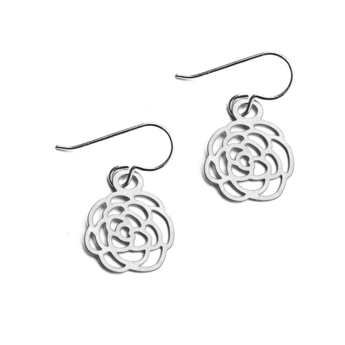 Daphne Olive Tiny Camellia Silver Earrings FS06TE