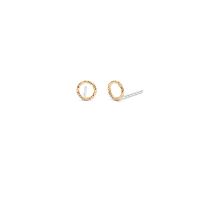 Laughing Sparrow Tiny Gold Circle Studs 170-19