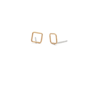 Laughing Sparrow Tiny Square Gold Studs 170-18