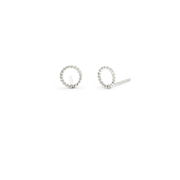Laughing Sparrow Tiny Rope Circle Studs 170-10