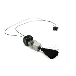 Alicia Niles Trio Cube Black/White/Grey Necklace CU051BKWH