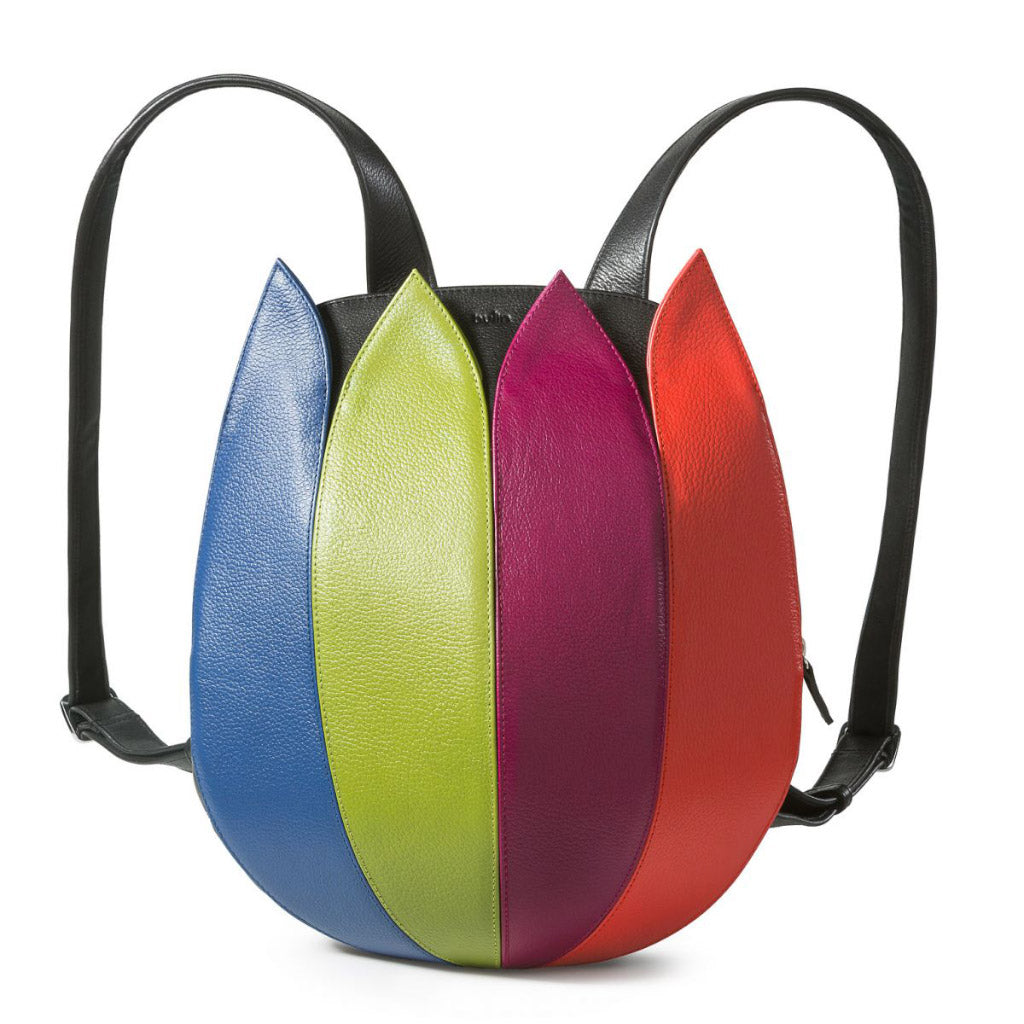 bylin Tulip Backpack in Multicolour Structure Leather 150606