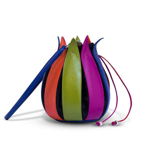 bylin Multicolour Structure Leather Tulip Bag 071306