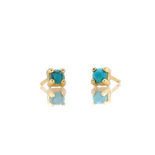 Kris Nations Turquoise Prong Set Studs Gold E669-G-TRQ