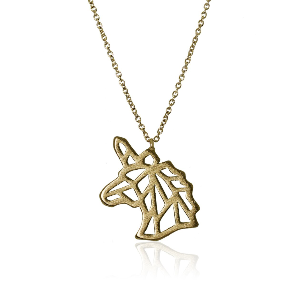 jj+rr Unicorn Origami Necklace Gold 7N18-G