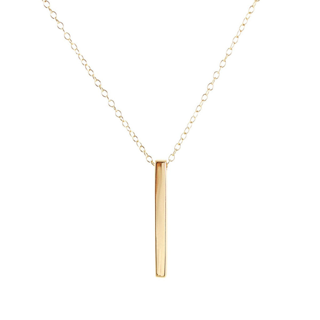 Kris Nations Vertical Bar Necklace Gold N652-G