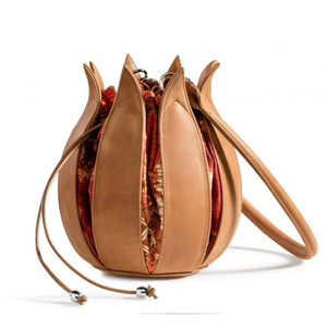 bylin Vintage Leather Tulip Bag in Cognac with Batik Bali Canvas 071624