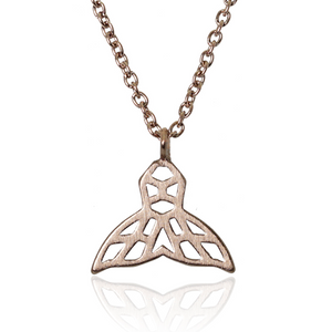 jj+rr Whale Tail Origami Necklace Rose Gold 7N5-RG