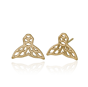 jj+rr Whale Tail Origami Studs Gold 7E5-G
