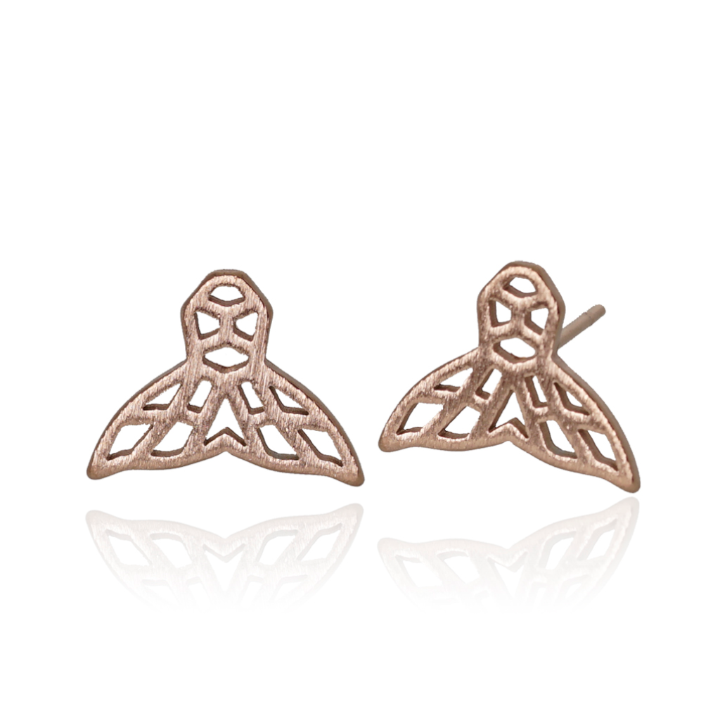 jj+rr Whale Tail Origami Studs Rose Gold 7E5-RG