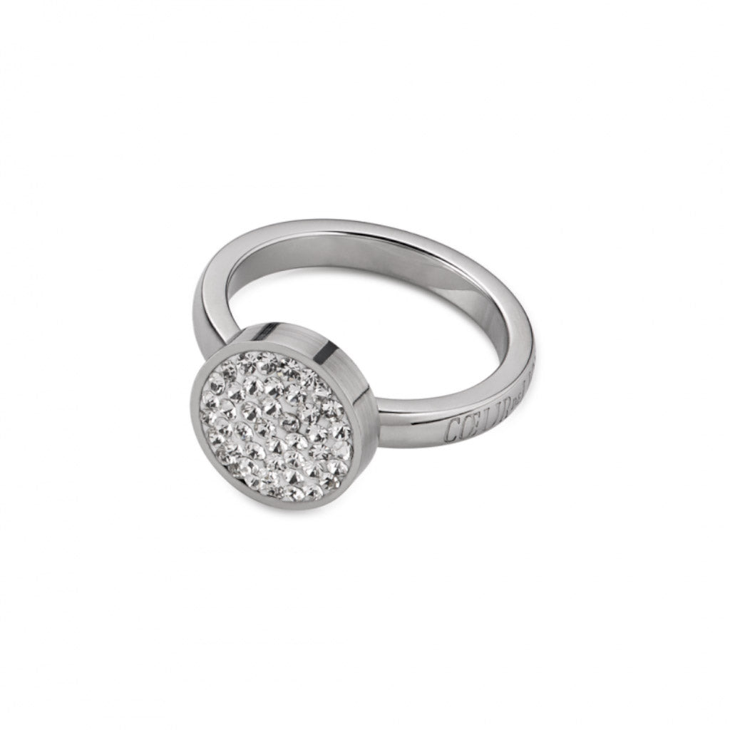 COEUR DE LION White Crystal Small Circle Ring 0112/40-1800