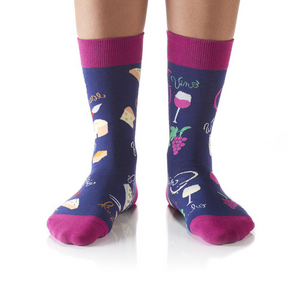 Yo Sox Wine & Cheese Women's Crew Socks 411948