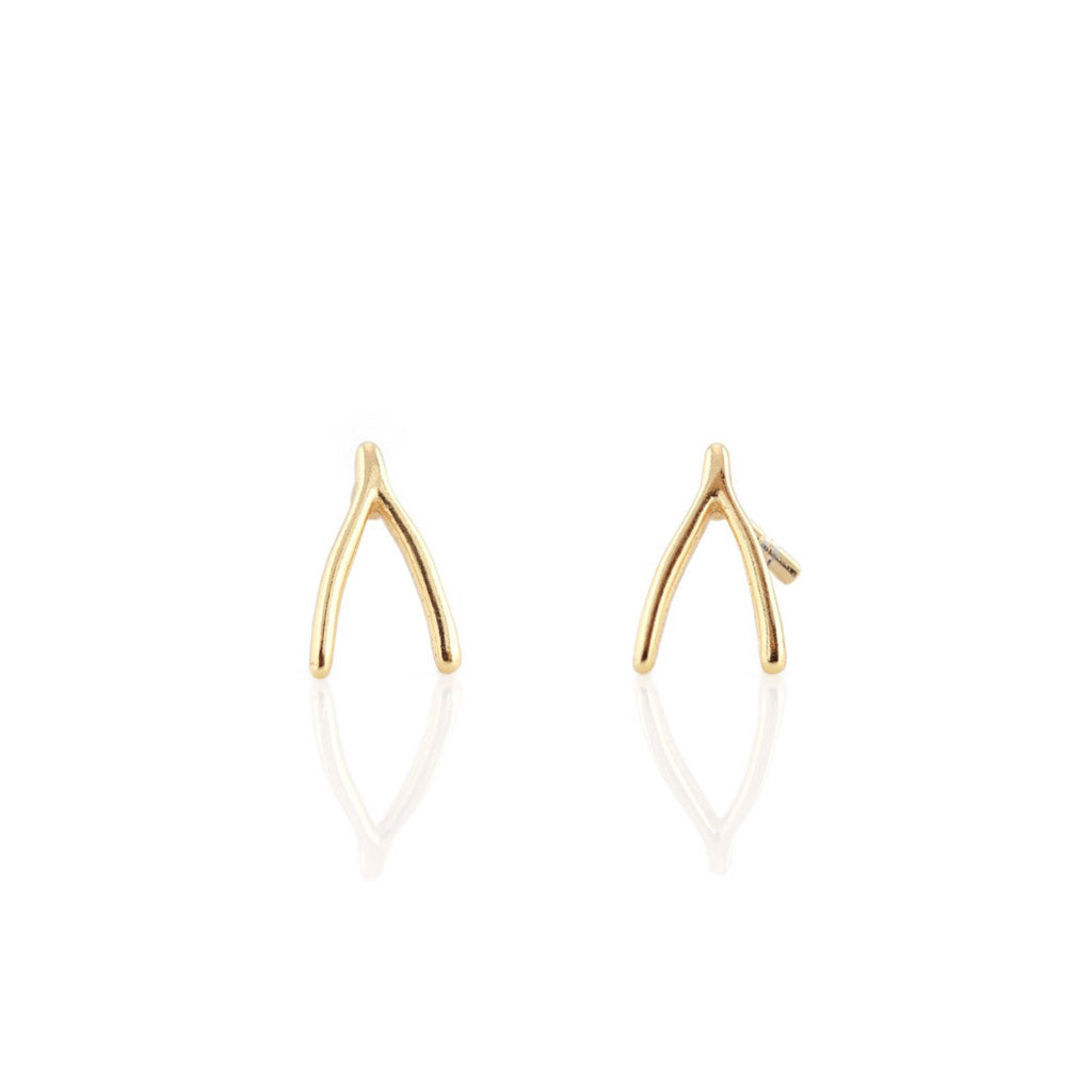 Kris Nations Wishbone Studs Gold E540-G