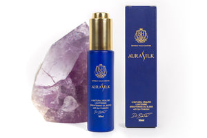 Purple Crystal, AuraSilk Bottle, AuraSilk Box