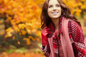 Young Woman Smiling Outdoors During Autumn
