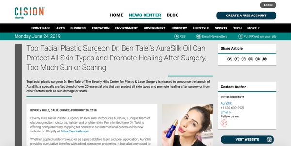 Top Facial Plastic Surgeon Dr. Ben Talei's AuraSilk Oil Can Protect All Skin Types and Promote Healing After Surgery, Too Much Sun or Scaring
