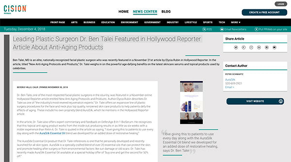 Leading Plastic Surgeon Dr. Ben Talei Featured in Hollywood Reporter Article About Anti-Aging Products