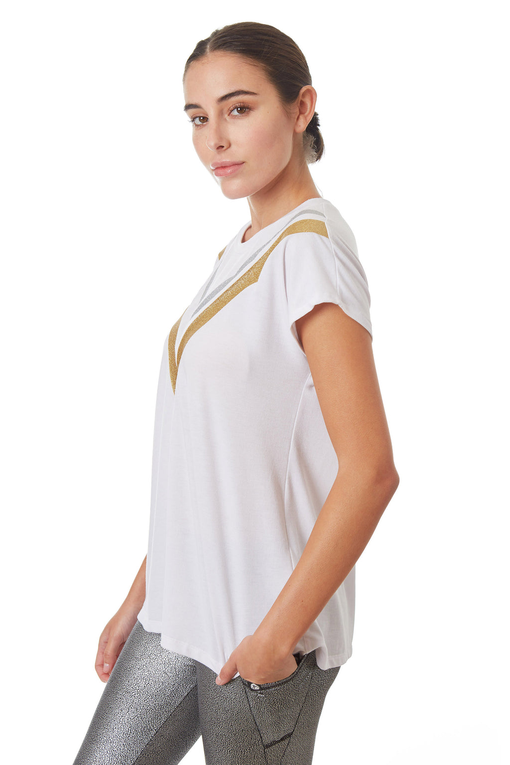 Gottex Studio Gold and Silver Open Back Top - Gottex Studio