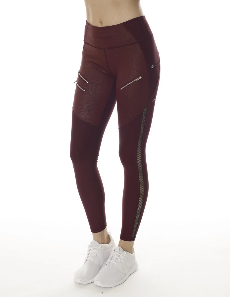 Gottex Studio Selena Racing Legging - Wine Vegan - Gottex Studio