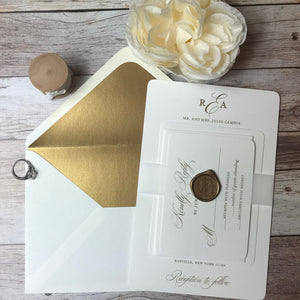 Antique Gold Wedding Invitations with Vellum Belly Band and Wax Seal