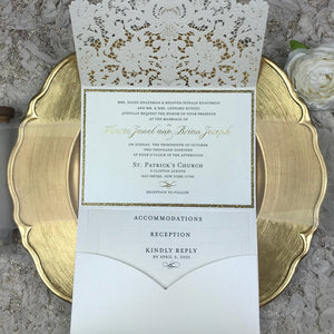 antique lace laser cut wedding invitations