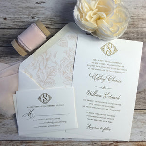 gold thermography wedding invitation suite