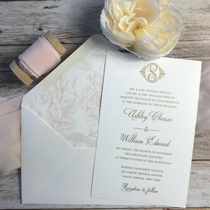gold thermography wedding invitation with envelope