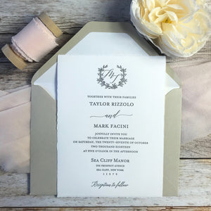 arturo paper letterpress wedding invitation with outer envelope