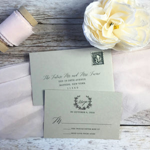arturo paper letterpress RSVP card and envelope
