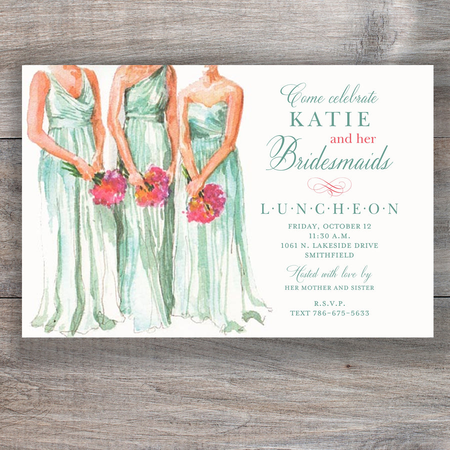 Attentive Attendants Bridesmaid Luncheon Invitations