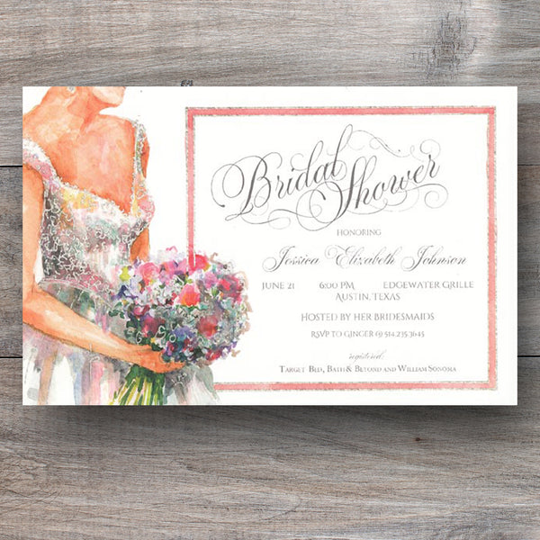 bridal shower invitation with bride holding bouquet of roses