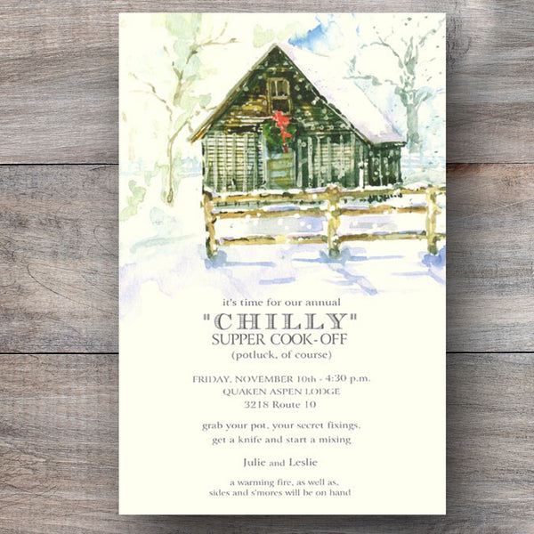 Christmas party invitations with farm house decorated with holiday wreath
