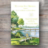 lake invitations with two Adirondack chairs sitting side by side