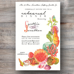 beach invitations with sea shells, urchins and corals