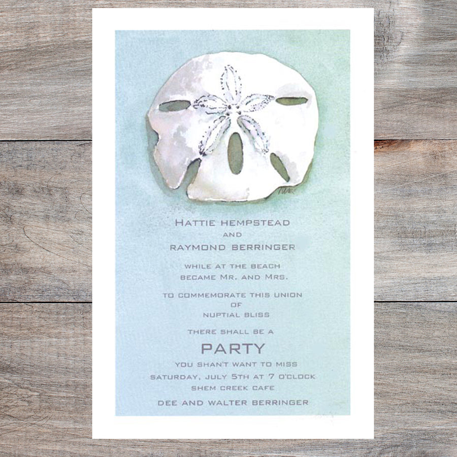 beach wedding invitations with sand dollar and blue background
