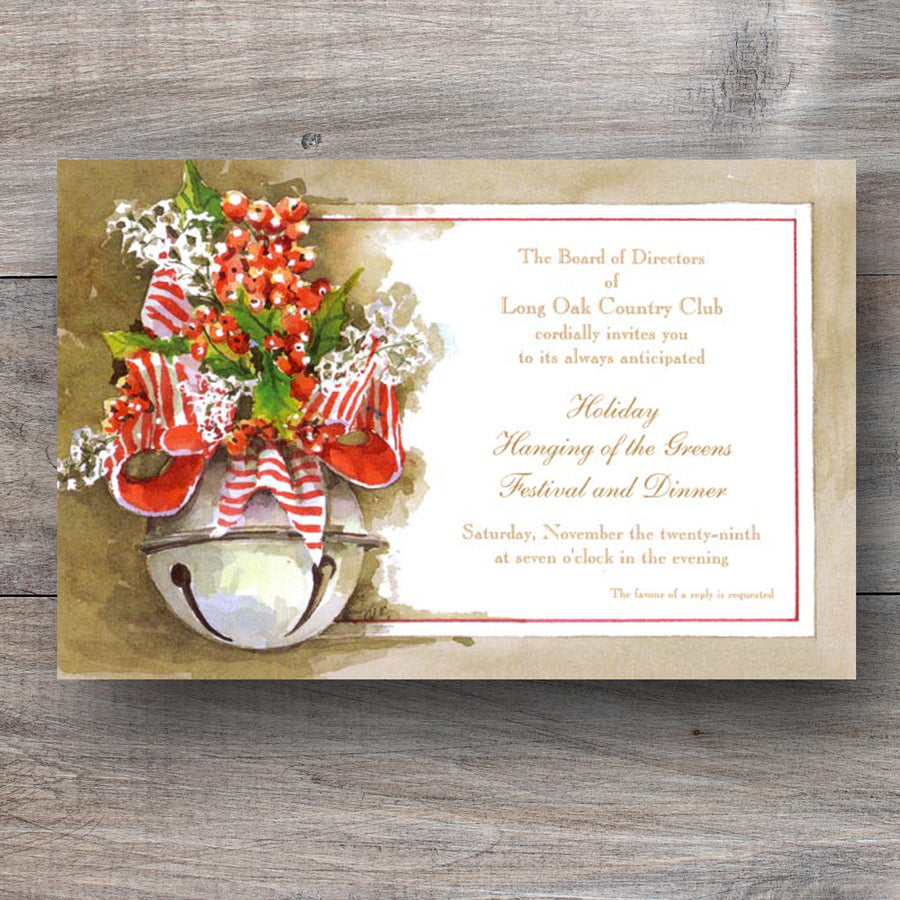 Christmas party invitations with silver bell and red bow