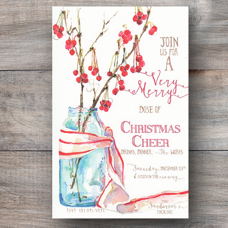 rustic christmas party invitation with mason jar and red berries