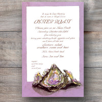 oyster roast invitation with cluster of oysters and lavender frame