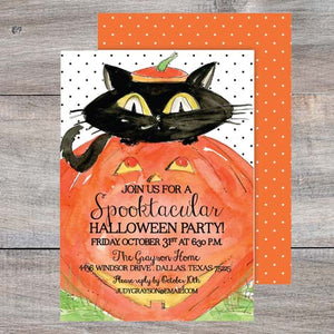 kids halloween party invitations with black cat poking out of a pumpkin