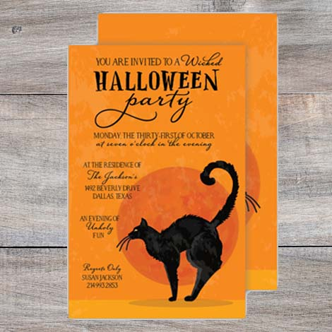 Halloween party invitation with black cat and full moon against orange background