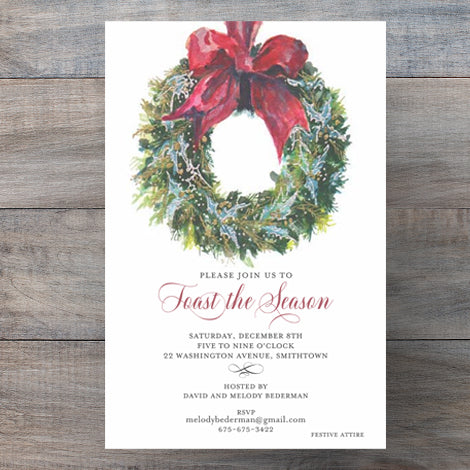 Traditional Christmas Party Invitations with Blue Holly Wreath